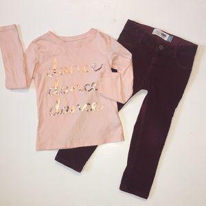 Old Navy cord pants & pink shirt Set